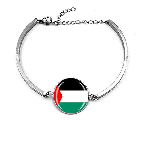 KFXD Pulsera Palestina,Pulsera De Metal Recuerdo La Bandera Palestina Pulsera De Acero Inoxidable para Hombre Y Mujer F