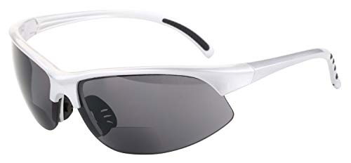 """The Illustrious"" Polarized Bifocal Sport Wrap Sunglasses (Silver, 2.5)"