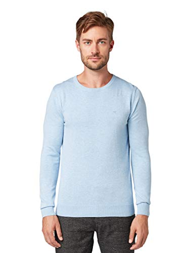 Tom Tailor Rundhals suéter, Azul (Daylight Blue Melange 13155), XX-Large para Hombre