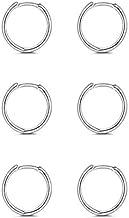 Sterling Silver Hoop Earrings- Cartilage Earring Small Hoop Earrings for Women Men Girls,3 Pairs of Hypoallergenic 925 Sterling Silver Earrings(3 pairs 6mm)