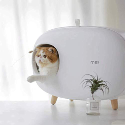 HYX Selbstreinigende Katzentoilette Wiederverwendbare Deodorant Spritzwassergeschütztes Katzentoilette Katzenklo Geschlossen Groß, Katzentoilette, Katzenhaus, Katzentoilette (Color : White)