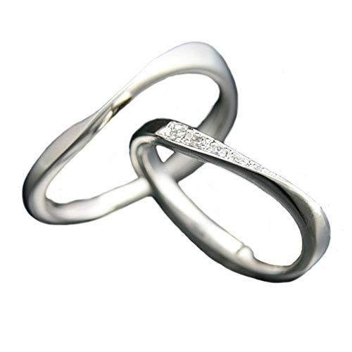 [ココカル]cococaru ペアリング シルバー リング2本セット ダイヤモンド マリッジリング 結婚指輪 日本製(レディースサイズ6号 メンズサイズ1号)