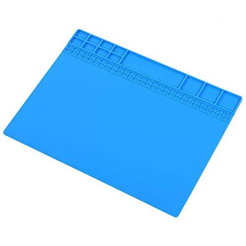 Alfombrilla de Soldadura de Silicona Aislamiento Resistente al Calor Espesado Soldadura Antideslizante Almohadilla de Reparación Electrónica para Teléhono Computadora Mesa de Comedor(Azul oscuro)