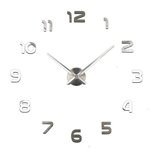 BECCYYLY Elegante Reloj de Pared Moderno, Reloj Grande número 3D Espejo Etiqueta de la Pared DIY Decoración del hogar Big Reloj de Reloj Reloj de Pared Reloj de Pared, clásico (Color: Plata) wmpa