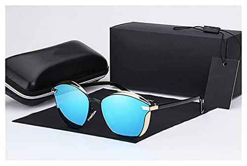 TYTG Gafas de sol para mujer de moda, redondas, vintage, retro, para mujer, para uso diario (Color del marco: caja de cuero completa, color de las lentes: azul-220 V)