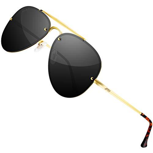 ATTCL Unisex Pilotenbrille Polarisierte Fliegerbrille Sonnenbrille Herren Damen UV400 Schutz 7211 Gold+Black