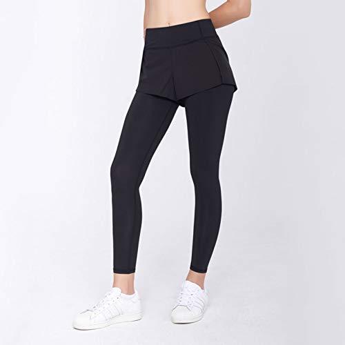 QZH Pantalones de Gimnasia Pantalones de Yoga Pantalones de Deportes de Fitness Mujeres Falsan Dos Piezas con Medias de Correr de Bolsillo Estiramiento de Cintura Alta,Negro,4XL