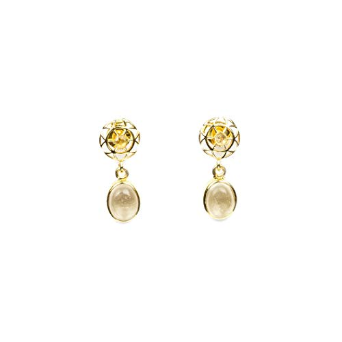 Libyan Desert Glass Faceted 9 Carat Gold Drop Earrings ~ (285788)
