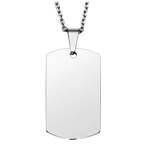 PiercingJ Personalized Custom Name Anniversary Calendar Stainless Steel Military Dog Tags ID Pendant Urn Memorial Container Necklace Ash Keepsake Cremation Jewelry, 24'