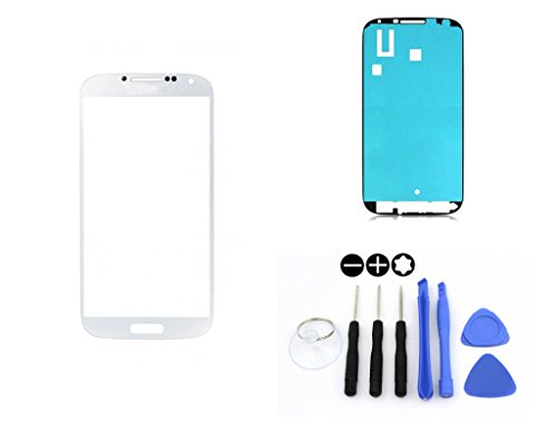 R.P.L. FRONTGLAS SET passend für SAMSUNG Galaxy S4 mini Weiss White i9195 / Frontglas / Glas / Displayglas / LCD Reparatur / LCD Display / Klebefolie / Glass Replacement / 8 - Teiliges Werkzeugset TOOLS