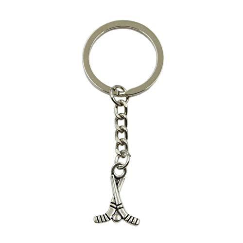 KFYOUXIN Hockeyschläger Anhänger Schlüsselring Metallkette Silber Farbe Männer Auto Geschenk Souvenirs Schlüsselbund