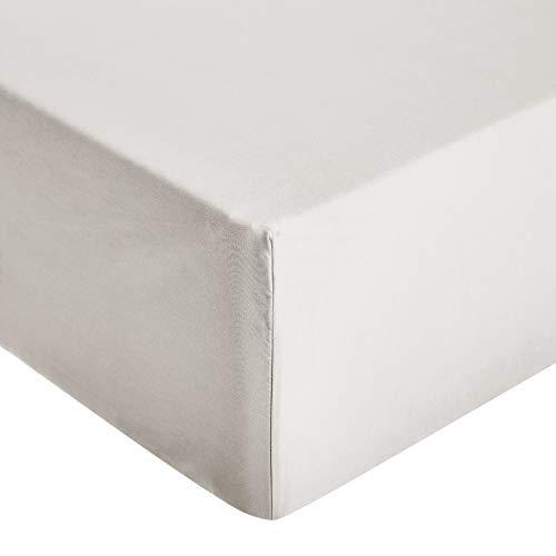 Amazon Basics – Hochwertiges Mikrofaser-Spannbettlaken, 180 x 200 x 30 cm, hellgrau