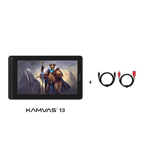 Huion Kamvas 13 Graphics Drawing Tablet Bundle with Full-Featured USB-C to USB-C Cable Full Laminated Screen Android Support Battery-Free PW517 8 Shortcuts Keys, Black