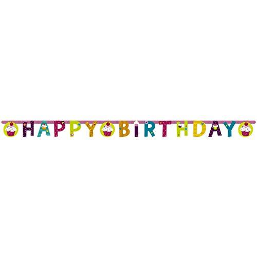 NET TOYS Guirlande d'anniversaire Cupcake Banderole Muffin 1,9 m x 15 cm Bannière pâtisserie fête pour Bambin Guirlande en Papier décoration Banderole Anniversaire d'enfant déco de fête