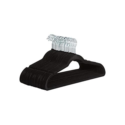 Amazon Basics Kleiderbügel für Anzug / Kostüm, mit Samt überzogen, 30er-Pack, Schwarz