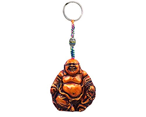 Happy Buddha Gold Spiritual Handpainted Figurine Dangle Handmade Keychain Multicolored Braided Macramé Bead Silver Keyring Hanging Ornament Charm Car Bag Accessory