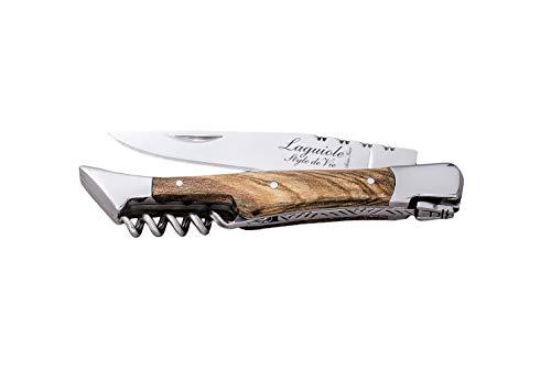 Laguiole Style de Vie Taschenmesser mit Korkenzieher, Olivenholz, mit Geschenkbox