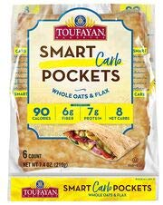 Smart Carb Pockets 'Square Pita Bread', Low Carb, Low Calorie, 7g Protein, 6g Fiber, Cholesterol Free, Keto Friendly, Naturally Vegan, Kosher OU Parve 7.4oz