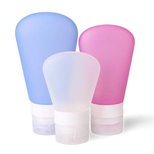 WiseGoods - Juego de botellas de viaje de silicona prémium, equipaje de mano, bolsa de cosméticos, a prueba de fugas, para champú, crema acondicionadora líquidos.