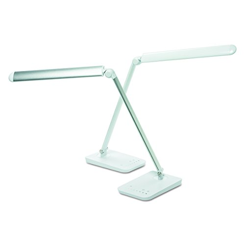 Safco Products 1001SL Vamp LED Modern ABS Desk Lamp with USB Port and Dimmer Switch, Silver