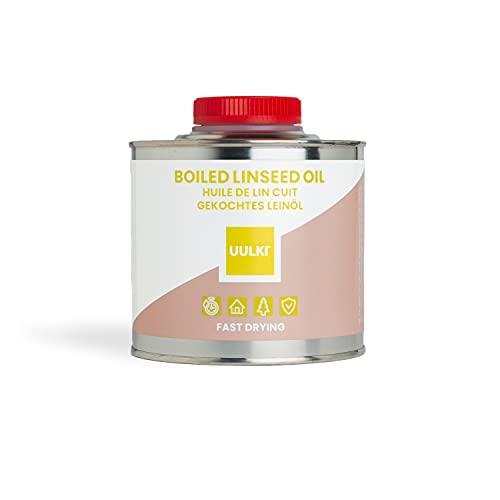 Uulki aceite de linaza cocido hervido natural para madera interior y exterior, meubles, hormigón, encimeras, piedra, metal - de secado rápido (500 ml)