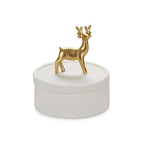 Balvi Caja joyero Deerling Color Blanco y Dorado Mate Caja de cerámica para Joyas con Tapa y Figura de Ciervo Decorativa Porcelana 9, 8 cm