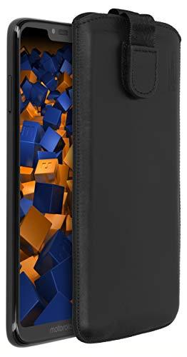 mumbi Echt Ledertasche kompatibel mit Motorola Moto G7 Power Hülle Leder Tasche Hülle Wallet, schwarz
