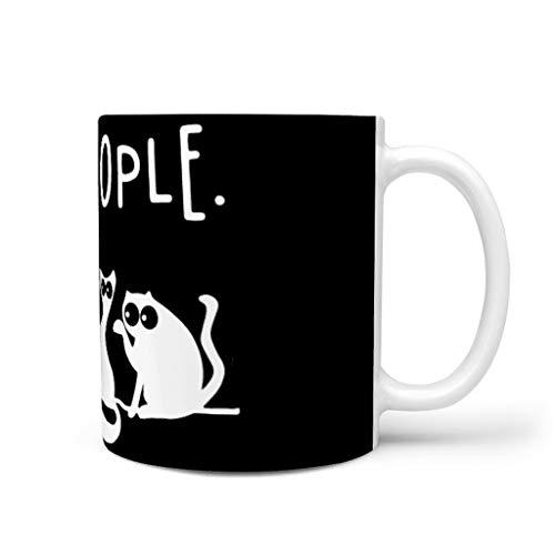 Divertida taza de café de cerámica, diseño de gatos, color negro, 330 ml