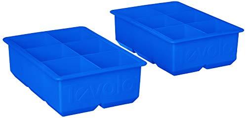 Tovolo Bandeja grande para freezer com molde de gelo King Craft de 5 cm para uísque, bourbon, bebidas alcoólicas e licor, silicone livre de BPA, conjunto de 2, azul Stratus