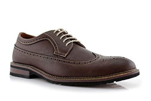 Ferro Aldo Phillip MFA19312 Mens Wingtip Dress Shoes Mens Perforated Classic Brogue Wingtip Dress Shoes Dark Brown