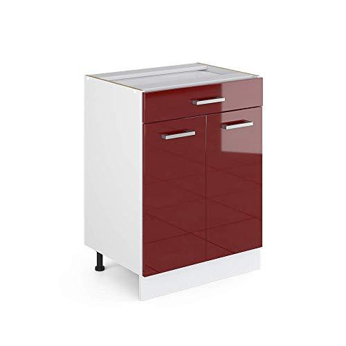 Vicco Küchenschrank R-Line Hängeschrank Unterschrank Küchenzeile Küchenunterschrank Arbeitsplatte, Möbel verfügbar in 6 Dekoren (Bordeaux ohne Arbeitsplatte, Schubunterschrank 60 cm)