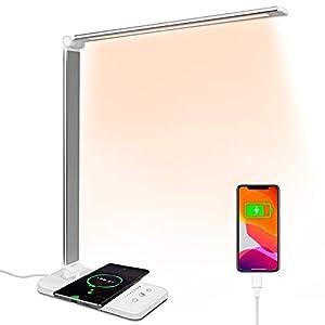 Lámpara de escritorio LED con puerto USB de carga inalámbrica Lámpara de mesa con función de protección ocular Control táctil 5 modos de iluminación para estudio, lectura, dormitorio