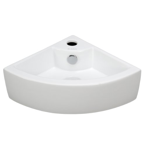 Elite Sinks EC9808 Porcelain Wall-Mounted Corner Sink, Wh