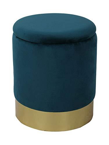 casamia Samthocker Sitzhocker Samt Pouf Sitzpouf Velour Hocker Hochwertig mit Stauraum u. Deckel Ø 31 H 38 cm Farbe smaragd
