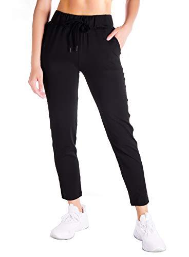 Yogipace Petite/Regular/Tall Women's 7/8 On The Fly Pants Drawstring Casual Lounge Joggers Travel Sweatpants,Black,24