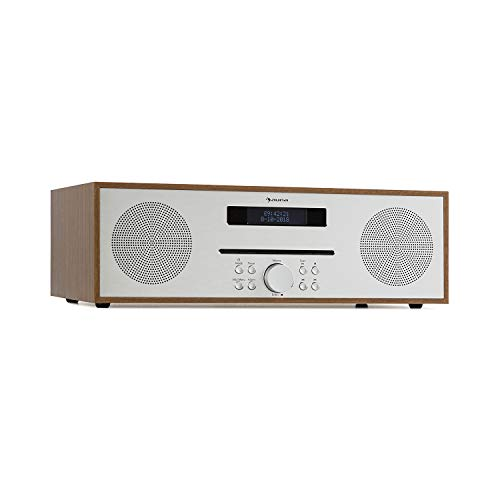 AUNA Silver Star - Wood Edition , Radio Fm , Lettore CD , Bluetooth , Ingresso AUX, USB , Uscita Cuffie , Telecomando , SolidSteel Industrial Design , 2x 10W RMS , Color Marrone