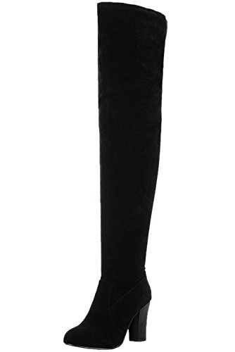 Rodilla Alta Botas Mujer Otoño Invierno Tacón Alto Casual Botas Altas De BIGTREE Negro 40
