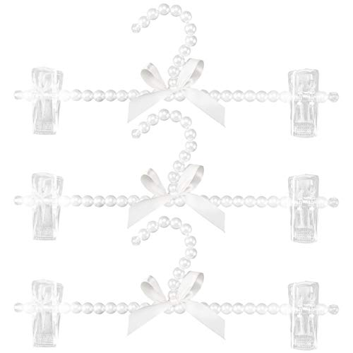 SODIAL 3 StüCk Faux Kunststoff Pearl Bow Pants KleiderbüGel Hosen KleiderbüGel KleiderbüGel Standard für Erwachsene...