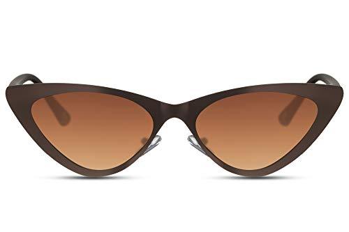 Cheapass Gafas de Sol Metálicas Ojo de Gato Gafas de Sol Mate Marrone