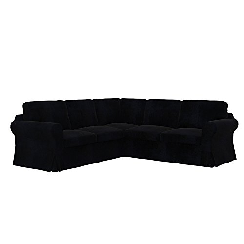 Soferia - Bezug fur IKEA EKTORP 2+2 Ecksofa, Eco Leather Black
