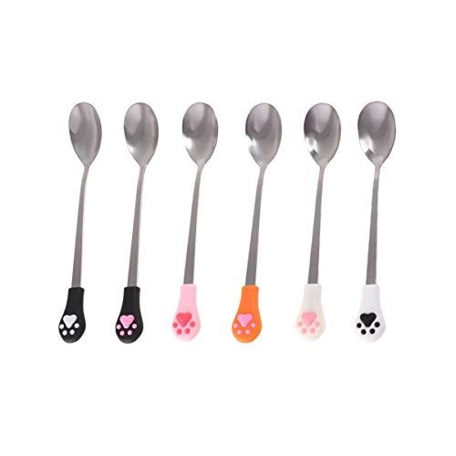 Hemoton - Juego de 6 cucharillas de café con garras de gato, cucharas de azúcar, de acero inoxidable, bonitas cucharas para tartas, para cocina, casa o fiesta