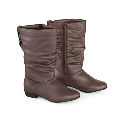 Collections Etc Faux Leather Mid Calf Slouch Boots w/Low Heel, Brown, 8