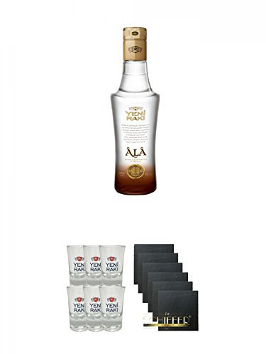 Yeni Raki ALA 0,2 Liter + Yeni Raki Shot Gläser 6er Set mit Eichstrich + Schiefer Glasuntersetzer eckig 6 x ca. 9,5 cm Durchmesser