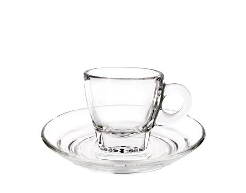 Cuisivin Caffé Collection Espresso 2.5 oz Cup and Saucer-gift box set (2 cups + 2 saucers) Drinkware Cups With Saucers, Clear