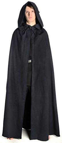 HEMAD Capa medieval con capucha - Puro algodón – Negro