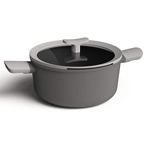 Berghoff 3950168 Olla de 2 asas 24cm, 4,4l + tapa, aluminio, inducción, color gris