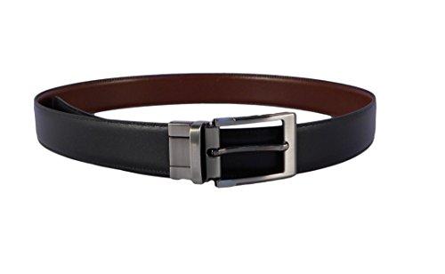 NILO Cinturón hombre piel clásico reversible negro - cuero Miguel Bellido con hebilla plateada oscura (95)