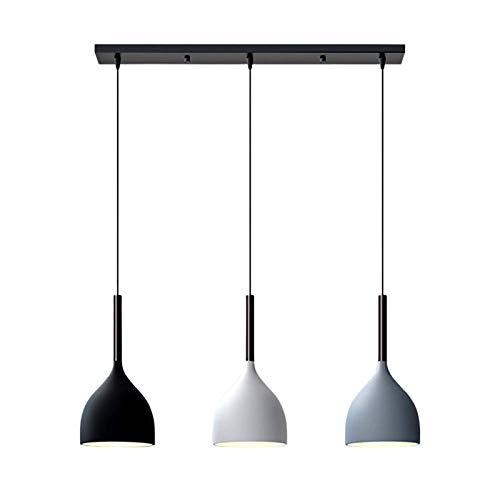 LFsem Lámpara colgante nórdica moderna Lámpara de techo de metal Colgante de luz de 3 cabezas E27 Loft Comedor Restaurante Dormitorio Araña (Recta)