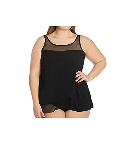 Miraclesuit Women's Plus Size Swimwear Sold Mirage High Neckline Tankini Bathing Suit Top, Black, 16W