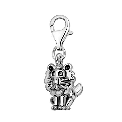 Quiges 3D Leo Zodiac Sign Clip On Charm Pendant Silver Plated Women's Jewellery